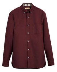 Burberry - Red Check Detail Oxford Shirt for Men - Lyst