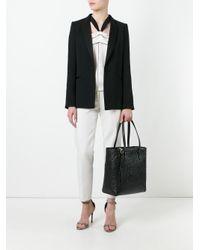 Ferragamo Black Lettering Shopping Tote Bag