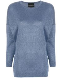 Erika Cavallini Semi Couture - Blue Crew Neck Jumper - Lyst