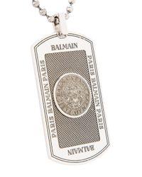 Balmain - Metallic Embossed Dog Tag for Men - Lyst