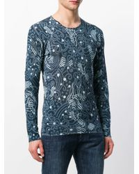 Emporio Armani Blue Printed Long Sleeve T-shirt for men