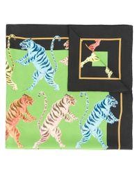 Gucci - Green Tiger Print Scarf - Lyst