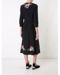 Vilshenko - Black Silk Floral Print Dress - Lyst