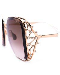 Elie Saab - Metallic - Oversized Sunglasses - Women - Swarovski Crystal/metal - 57 - Lyst