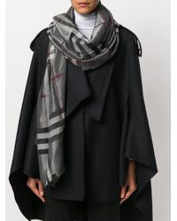 Burberry - Gray Check Scarf - Lyst
