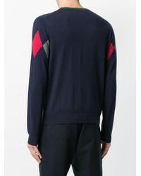 Sun 68 - Blue Argyle Knitted Sweater for Men - Lyst