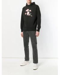 M I S B H V - Black Floral Print Hooded Sweatshirt for Men - Lyst
