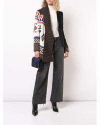 Sacai - Blue Intarsia Knit Layered Cardigan - Lyst