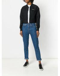 Nike - Black Mesh Printed Logo Stripe Sleeve T-shirt - Lyst