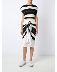 Osklen - Black Striped Midi Skirt - Lyst