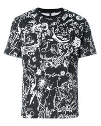 Versus  - Black Scribble Print T-shirt for Men - Lyst