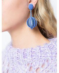 Oscar de la Renta - Blue Single Line Dropped Ball Clip-on Earrings - Lyst