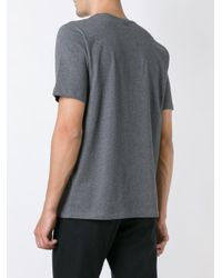 AMI - Gray Embroidered Logo T-shirt for Men - Lyst