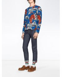 Gucci - Blue Bengal Print Sweatshirt for Men - Lyst