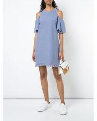 MILLY - Blue Cold Shoulder Dress - Lyst