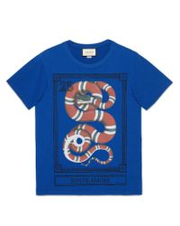 Gucci - Blue Kingsnake Print T-shirt for Men - Lyst