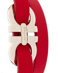 Ferragamo - Red Double Gancio Wrap Bracelet - Lyst