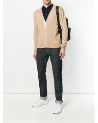 Maison Kitsuné - Brown Embroidered Logo Cardigan for Men - Lyst