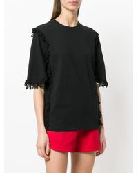 MSGM - Black Lace Trim T-shirt - Lyst