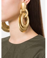 Monies - Metallic Circular Maxi Drop Earrings - Lyst