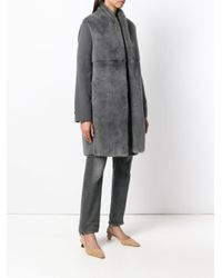 Manzoni 24 - Gray Mink Fur Fitted Coat - Lyst