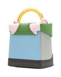 The Volon - Green Brogue Detail Contrast Panel Handbag - Lyst