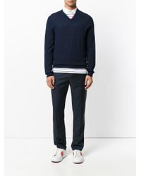 PS by Paul Smith - Blue Multicolour Trim V-neck Sweater for Men - Lyst