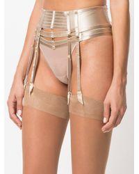 Bordelle - Natural Art Deco Adjustable Suspenders - Lyst