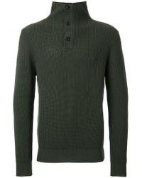 Kent & Curwen - Green Buttoned High Neck Jumper for Men - Lyst