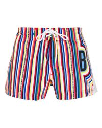 Dirk Bikkembergs - Blue Striped Swim Shorts for Men - Lyst