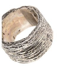 Tobias Wistisen - Metallic Ring mit Holz-Effekt for Men - Lyst