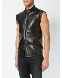 Saint Laurent - Black Sleeveless Leather Shirt for Men - Lyst