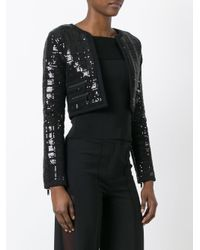 Karl Lagerfeld - Black Sequinned Cropped Jacket - Lyst