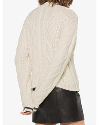 Saint Laurent - Natural Contrast Cuff Cable Knit Sweater - Lyst