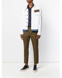 Fendi - White Ff Contrast Hem Denim Jacket for Men - Lyst