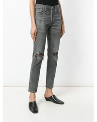 Citizens of Humanity - Gray Distressed Slim Fit Jeans - Lyst