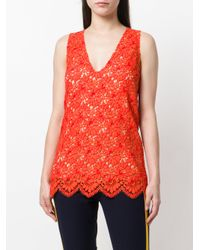 Gucci - Red V-neck Floral Blouse - Lyst