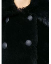 Giorgio Armani - Blue Fur Trimmed Double Breasted Coat - Lyst