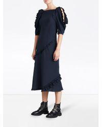 Burberry - Blue Ruffled Midi Dress - Lyst