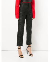 MARINE SERRE - Black Moire Trousers - Lyst