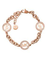 Michael Kors | Metallic Chain Link Bracelet Logo Rosé Gold-tone | Lyst
