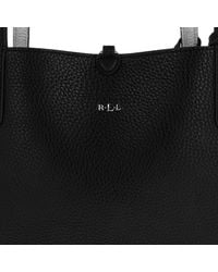 Lauren by Ralph Lauren - Soft Tumbled Olivia Tote Black/silver - Lyst