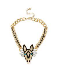 Betsey Johnson | Metallic Goldtone Zebra Frontal Necklace | Lyst