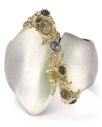 Alexis Bittar | Multicolor Lucite, Crystal Lace & Labradorite Asymmetrical Hinge Bangle | Lyst