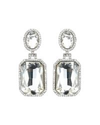 Mikey | White Rectangle Stone Marquise Drop Earring | Lyst