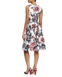 Carolina Herrera - Red Dotted Rose-print Sleeveless A-line Dress - Lyst