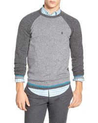 Original Penguin | Gray Raglan Crewneck Sweater for Men | Lyst