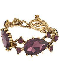 Oscar de la Renta | Metallic Ultraviolet Swarovski Crystal Pear Stone Bracelet - For Women | Lyst