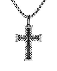 "David Yurman - Metallic Chevron Cross With Black Diamonds On Chain, 22"" for Men - Lyst"