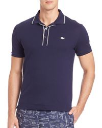 Lacoste - Blue Striped Pique Polo for Men - Lyst